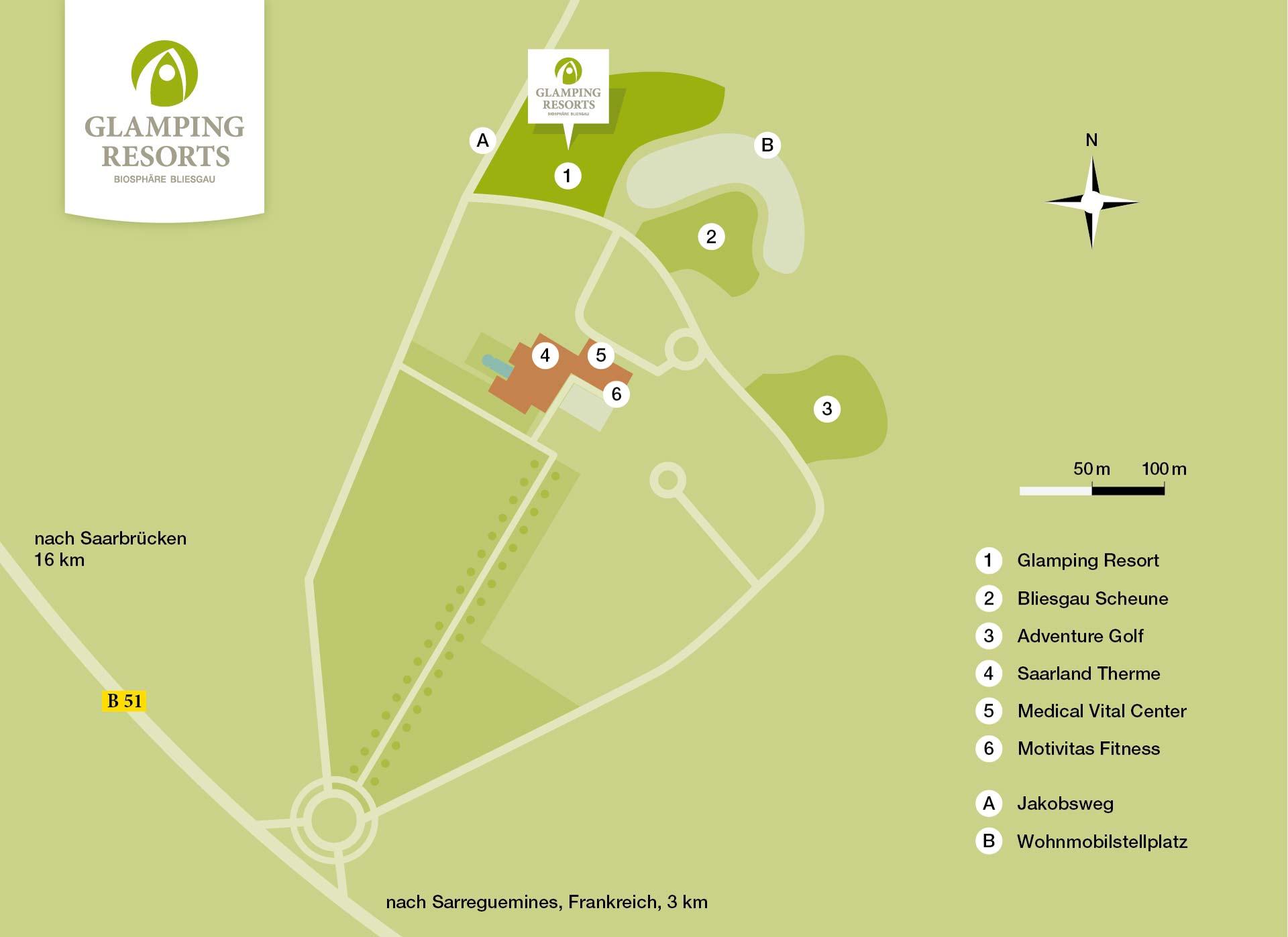 Lageplan mit Entfernungsangaben, Glamping Resort Biosphäre Bliesgau
