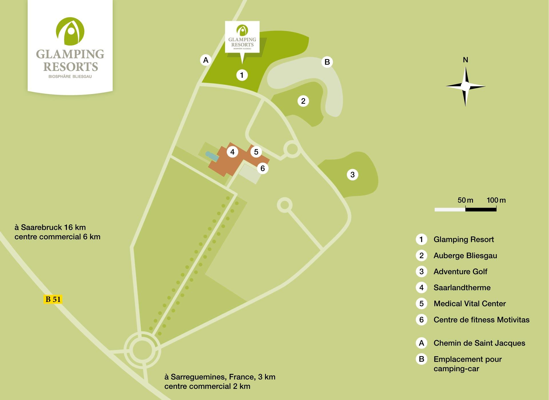 Carte avec distances, Glamping Resort Biosphère Bliesgau