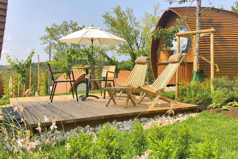 Picture of a terrace in the Glamping resort, garden area Sungarden